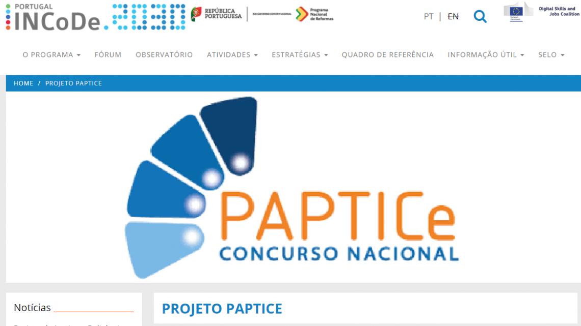 O projeto PAPTICe foi distinguido com o selo INCODE.2030